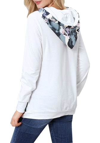 White Floral Long Sleeves Pocket Pullover Hoodie