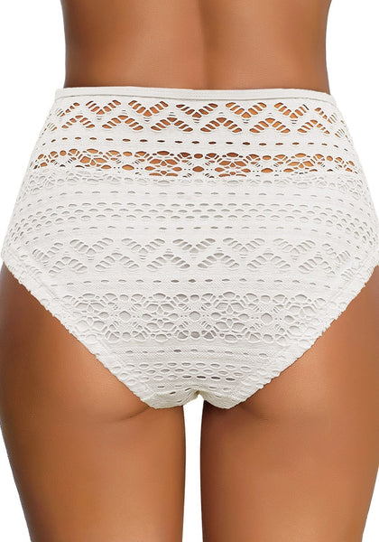 Back view of model wearing white high-waist hollow out crochet bikini bottom