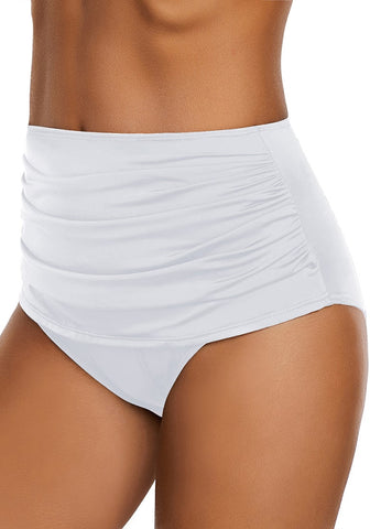 White High Waist Ruched Swim Bottom