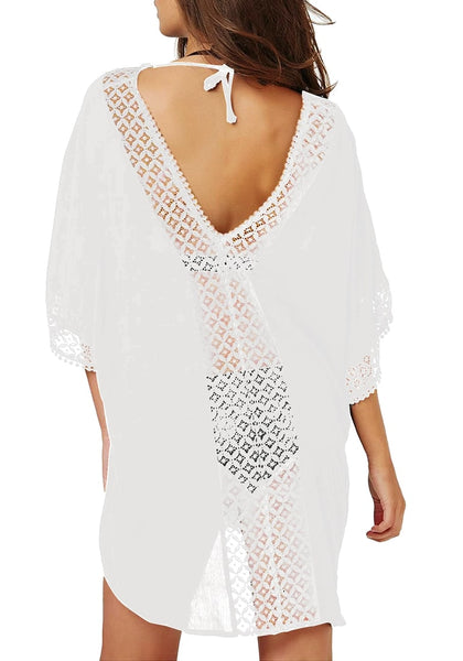 Back view of model wearing white hollow out V-neck kaftan beach cover-up