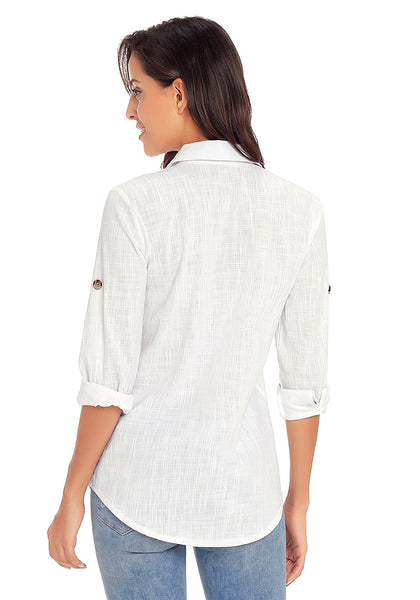 Back view of model wearing white long cuffed sleeves lapel button-up blouse