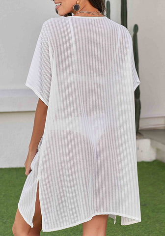 White Mesh V-Neckline Side-Slit Beach Cover-Up