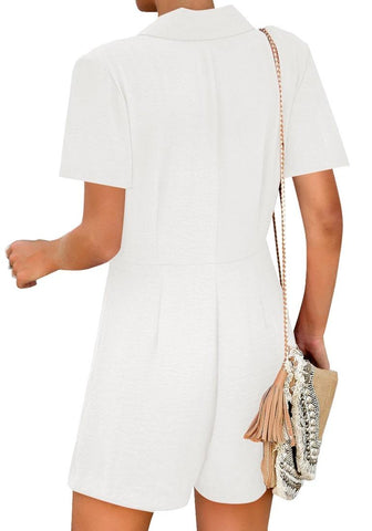 White Notch Lapel Double Breasted Wrap Romper