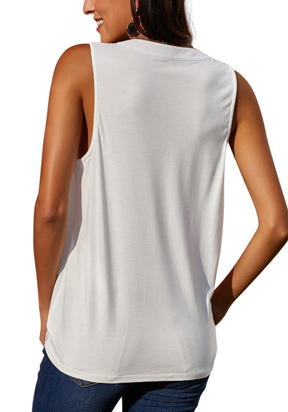 Back view of model wearing white notched V-neck crochet lace sleeveless top