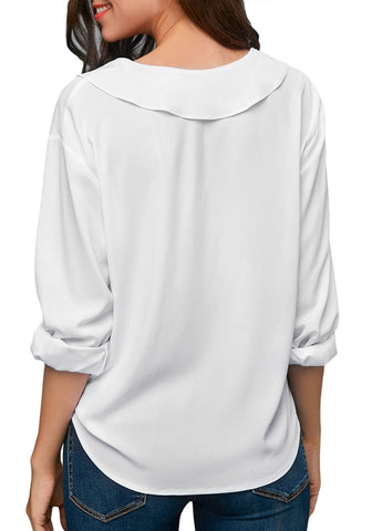 White Roll Sleeves Lapel Collar V-Neck Chiffon Top