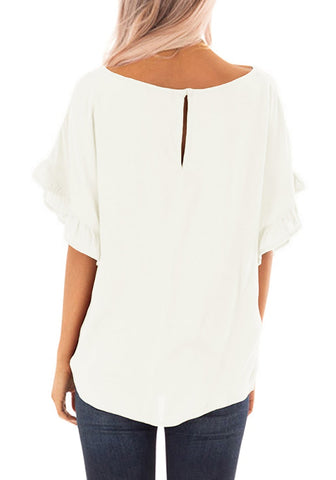 White Short Ruffle Sleeves Tie-Front Top