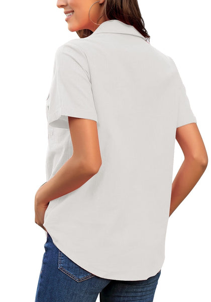 Back view of model wearing white short sleeves lapel button-up blouse