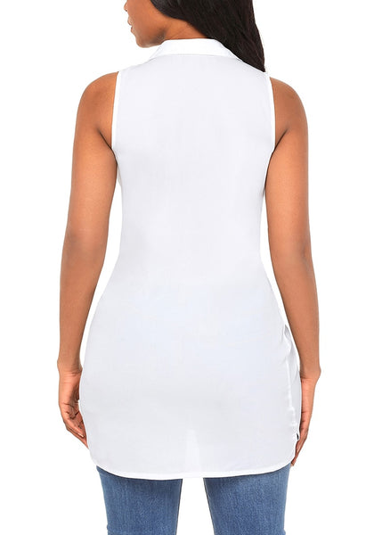 Back view of model wearing white tie-front buttons asymmetrical sleeveless top