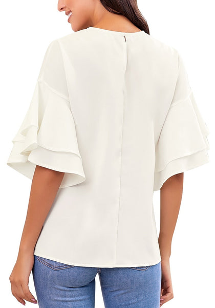 Back view of model wearing white trumpet sleeves keyhole-back blouse