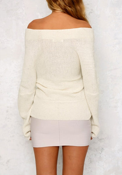 Back view of model wearing white wrap off-shoulder sweater