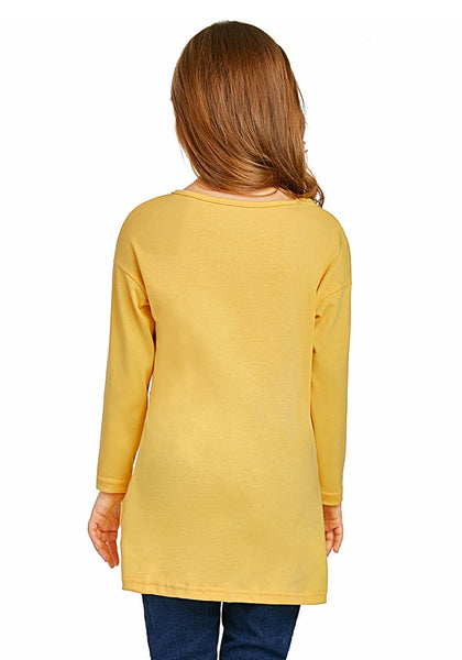 Back view of model wearing yellow long sleeves front twist knot girl top