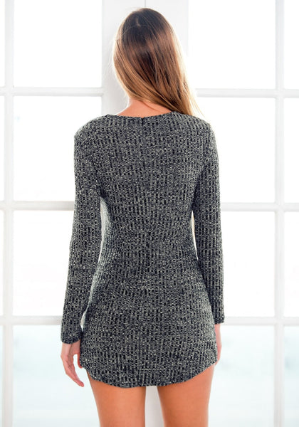 Dark Grey Ribbed Mini Dress