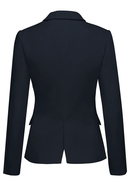 Back view of navy back-slit notched lapel blazer's 3D image