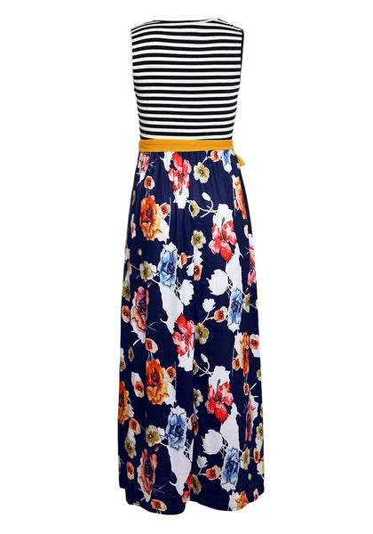 Back view of navy blue striped floral belted sleeveless maxi dress' 3D image