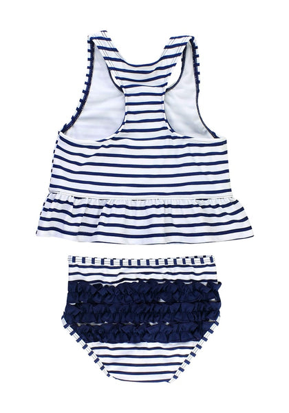Back view of navy bow-front striped ruffle two-piece baby swimsuit's 3D image