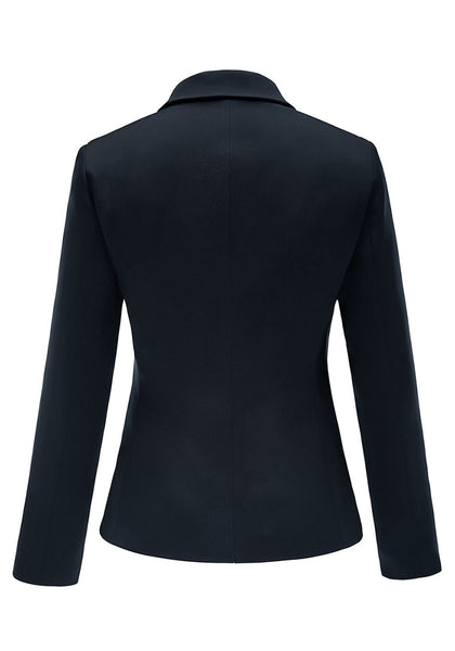 Back view of navy flap pocket single breasted lapel blazer's 3D image