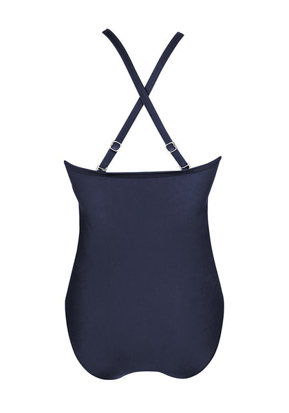 Back view of navy high neck mesh panel one-piece swimsuit's image