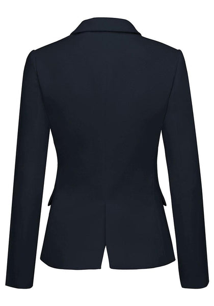 Back view of navy leopard lining back-slit notched lapel blazer's 3D image