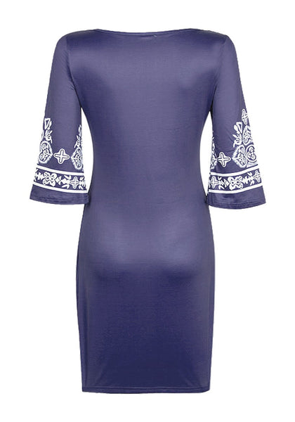 Back view of navy paisley print dress' 3D image
