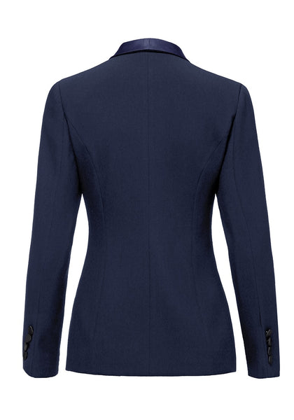 Back view of navy satin lapel front-buttons blazer's 3D image