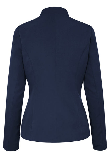 Back view of navy stand collar open-front blazer