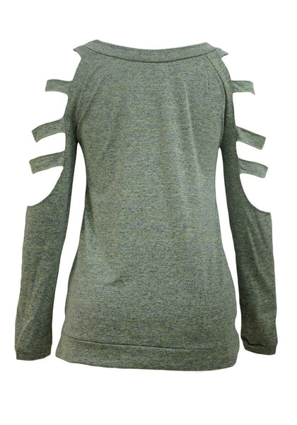 Back view of olive green cold-shoulder hollow-out blouse's 3D image