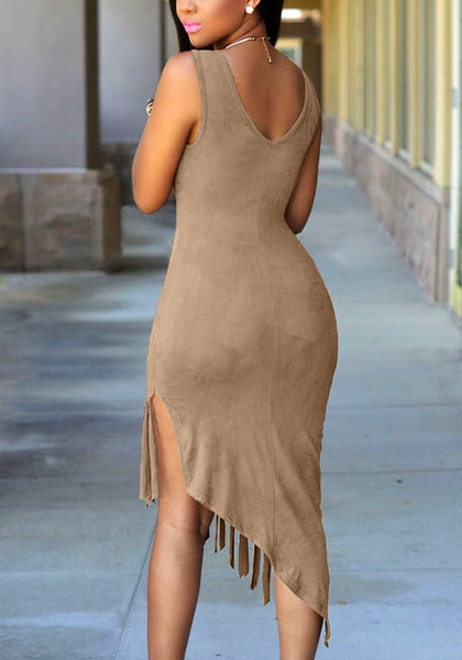 Back view of pale brown suede asymmetrical dress
