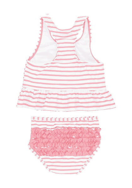Back view of pink bow-front striped ruffle two-piece baby swimsuit's 3D image
