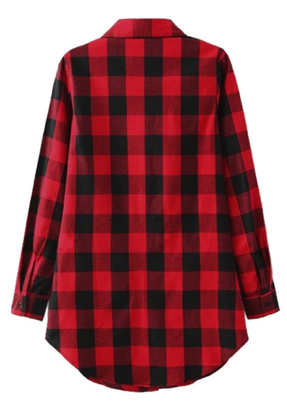 Back view of plaid flannel tunic shirt