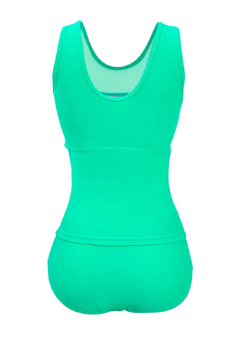 Plus Size Mint Green Illusion Neck Ruched Swimsuit