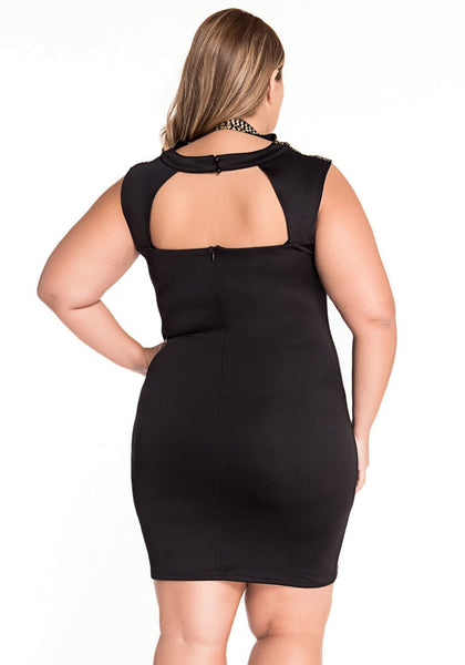 Back view of plus size model in gold stamps neck black mini dress