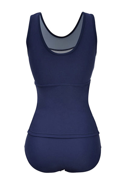 Back view of plus size navy illusion neck ruched swimsuit's 3D image