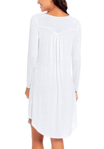 White Long Sleeves Curved Hem Pleated Henley Dress ... 786ca734a