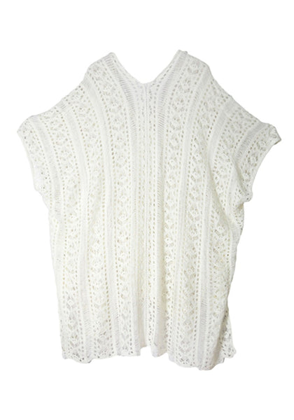 Back view of pretty white crochet lace-up side beach cover-up 3D image
