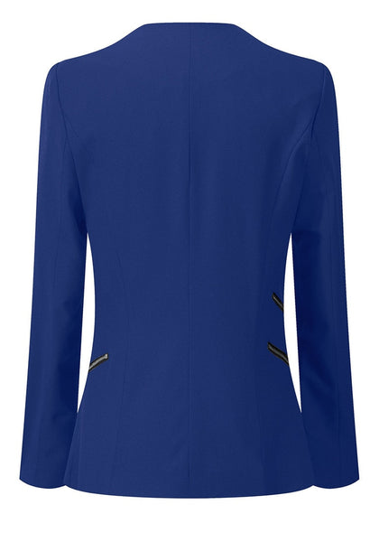 Back view of royal blue draped blazer