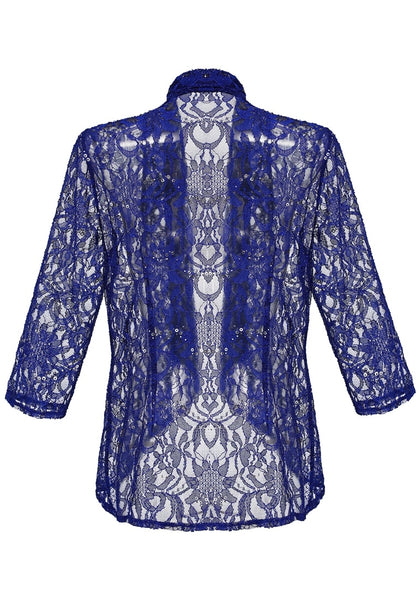 Back view of royal blue floral lace sequins sheer cardigan's 3D image