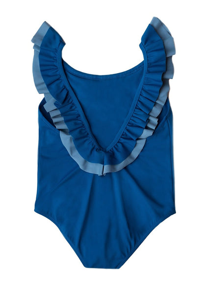 Back view of royal blue layered ruffle neckline one-piece girl swimsuit's 3D image