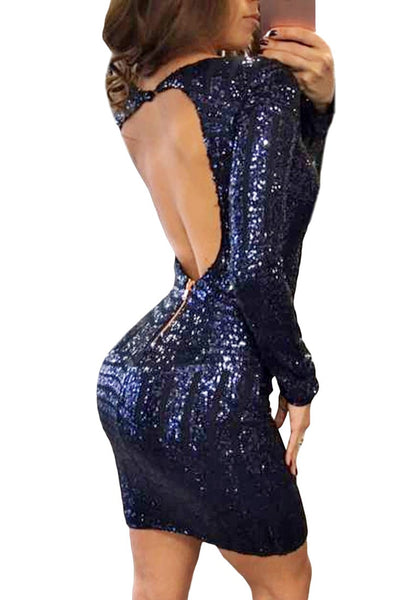 Back view of sexy model in navy blue keyhole-back sequin dress