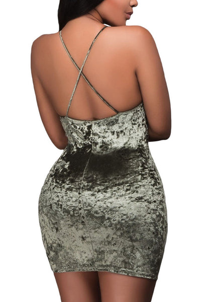 Back view of sexy model in olive green wrap V-neck ruched velvet dress