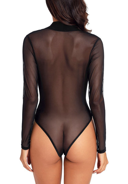 Back view of sexy model wearing black long sleeves surplice neckline sheer mesh bodysuit