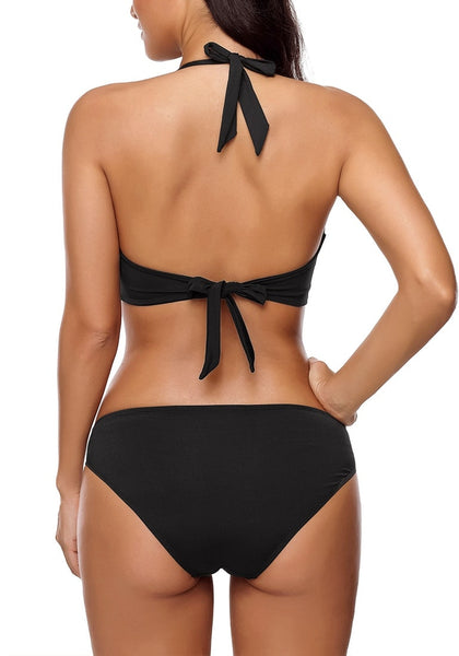 Back view of sexy model wearing black ruched self-tie halter bikini set