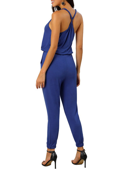Back view of sexy model wearing blue spaghetti straps belted button-up jumpsuit