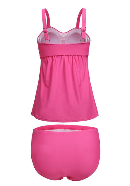 Back view of solid pink swing tankini set's 3D image