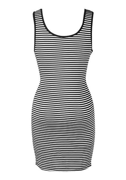 Back view of striped racerback tank dress