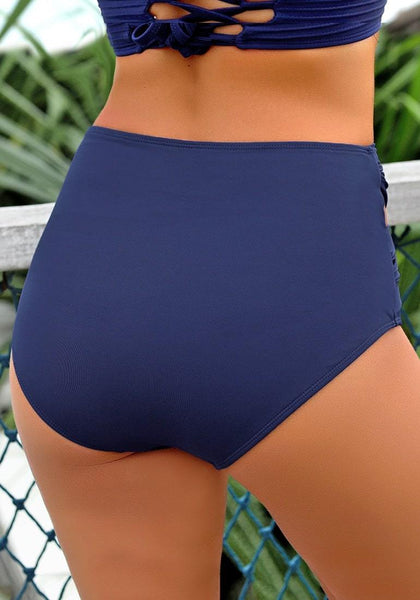 Back view of wearing navy crisscross-waist cutout ruched bikini bottom