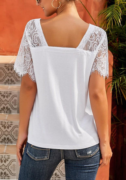 Back view of white crochet lace short sleeves V-neckline top
