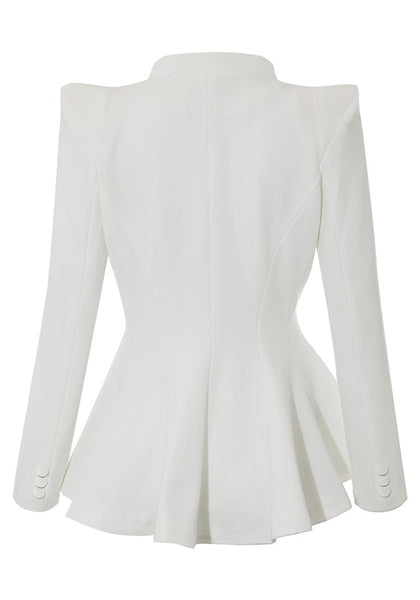Back view of white double lapel fit-and-flare blazer