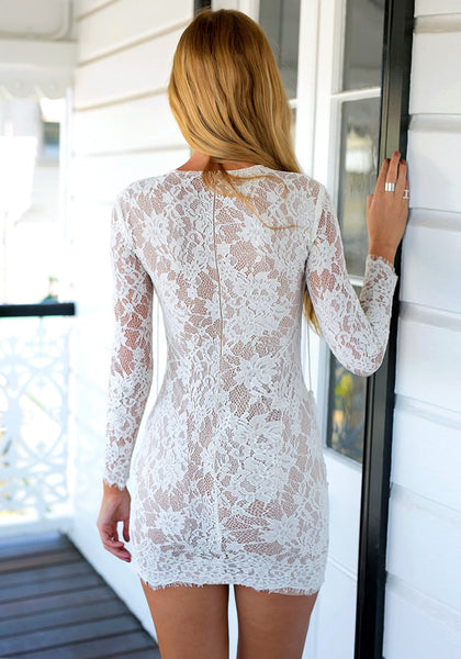 Back view of white lace-up sheath lace dress