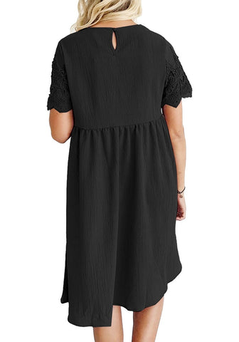 Black Hollow Out Lace Keyhole-Back Shift Dress