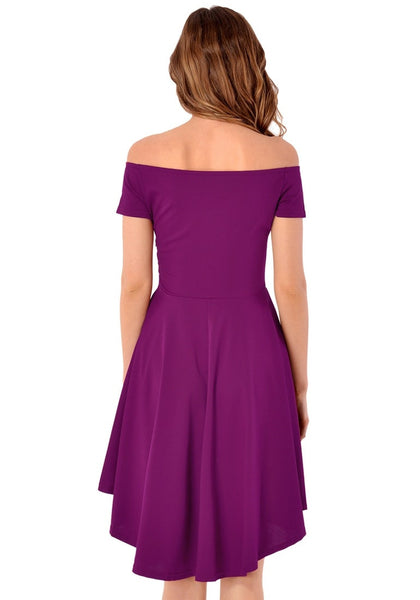 Back view of woman in deep orchid off-shoulder high-low skater dress